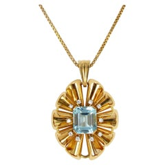1960 Aquamarine and Diamond Pendant/Brooch in Red Gold 750