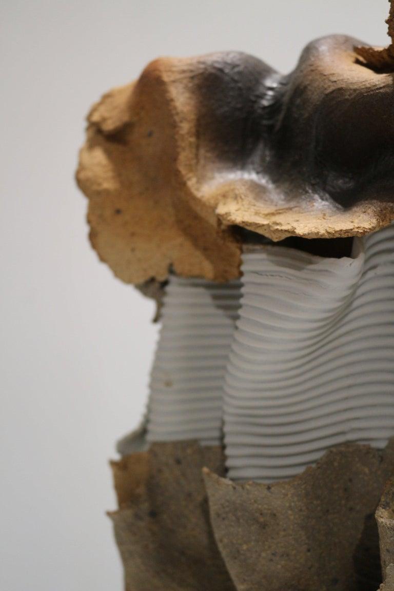 Rare and unique sculpture ceramics (sandstone and porcelain) made in 1960 by Jean-Paul Brunet / Atelier Palègre Good dimensions.