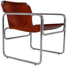 1960 Bauhaus-Style Tubelar Chair in Saddle Leather