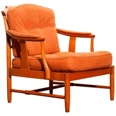 1960, Beech with Orange Fabric Easy or Lounge or Armchair, Sweden
