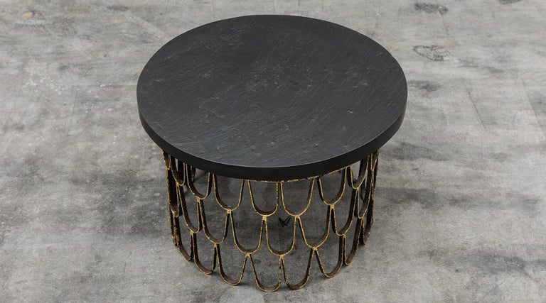 Coffee table, gilt and enameled steel, slate, giltwood, by Paul Evans and Phillip Lloyd Powell, USA, 1960.