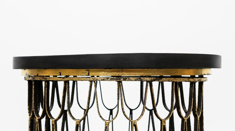 Mid-Century Modern 1960 Black Steel, Giltwood Side Table by Paul Evans & Phillip Lloyd Powell 'C' For Sale