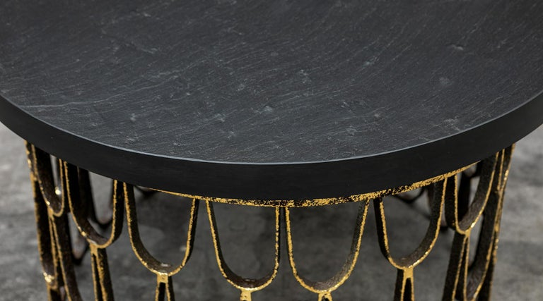 American 1960 Black Steel, Giltwood Side Table by Paul Evans & Phillip Lloyd Powell 'C' For Sale