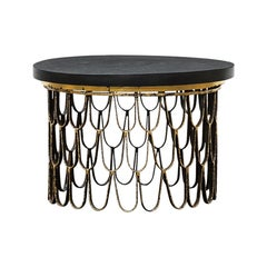 1960 Black Steel, Giltwood Side Table by Paul Evans & Phillip Lloyd Powell 'C'