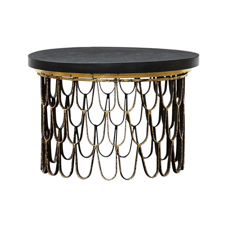 1960 Black Steel, Giltwood Side Table by Paul Evans & Phillip Lloyd Powell 'C' For Sale