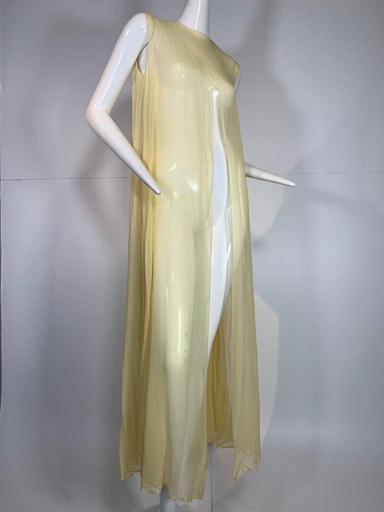 1960 Bonwit Teller Pale Yellow Silk Chiffon Column & Overlay Gown  For Sale 6