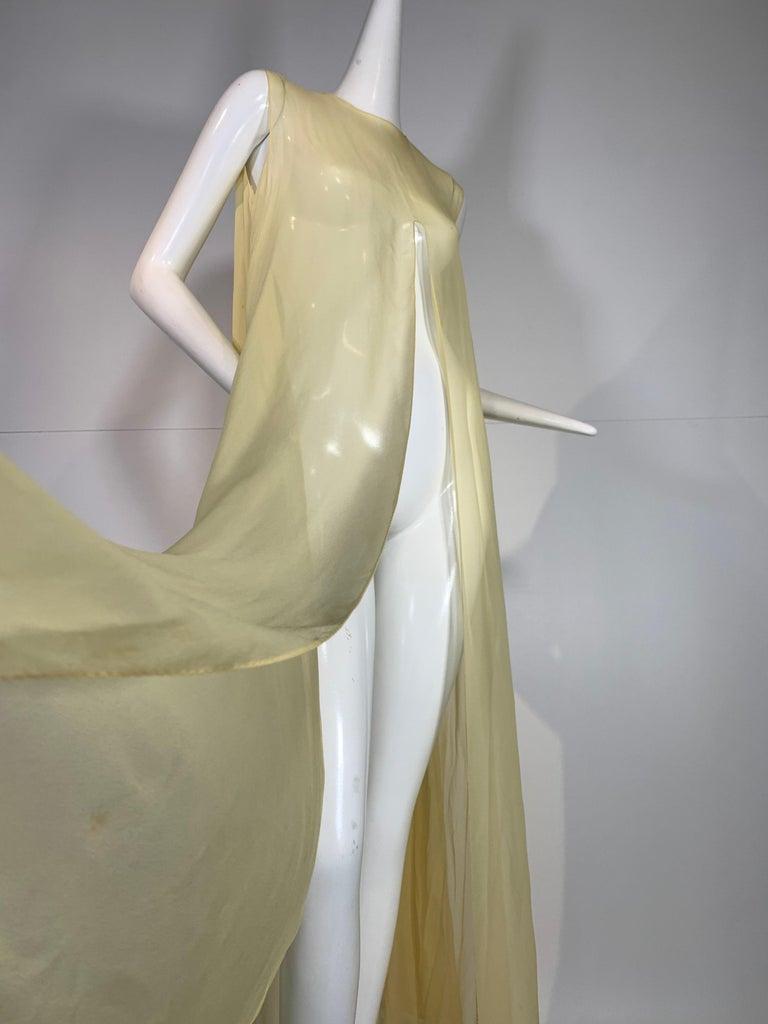 1960 Bonwit Teller Pale Yellow Silk Chiffon Column & Overlay Gown  For Sale 7