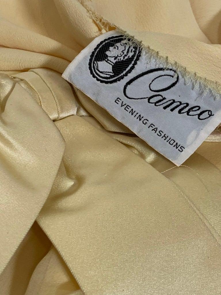 1960 Bonwit Teller Pale Yellow Silk Chiffon Column & Overlay Gown  For Sale 8