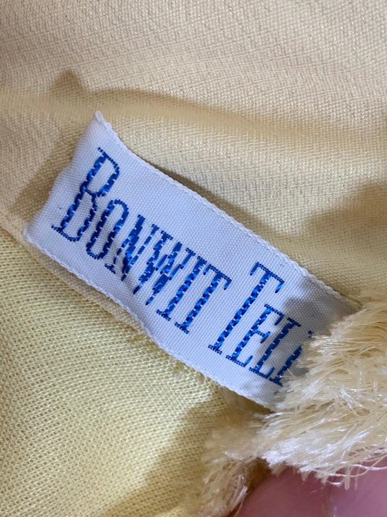 1960 Bonwit Teller Pale Yellow Silk Chiffon Column & Overlay Gown  For Sale 9