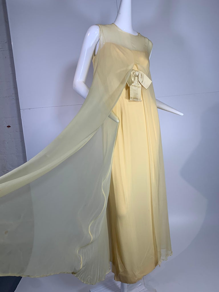 Women's 1960 Bonwit Teller Pale Yellow Silk Chiffon Column & Overlay Gown  For Sale