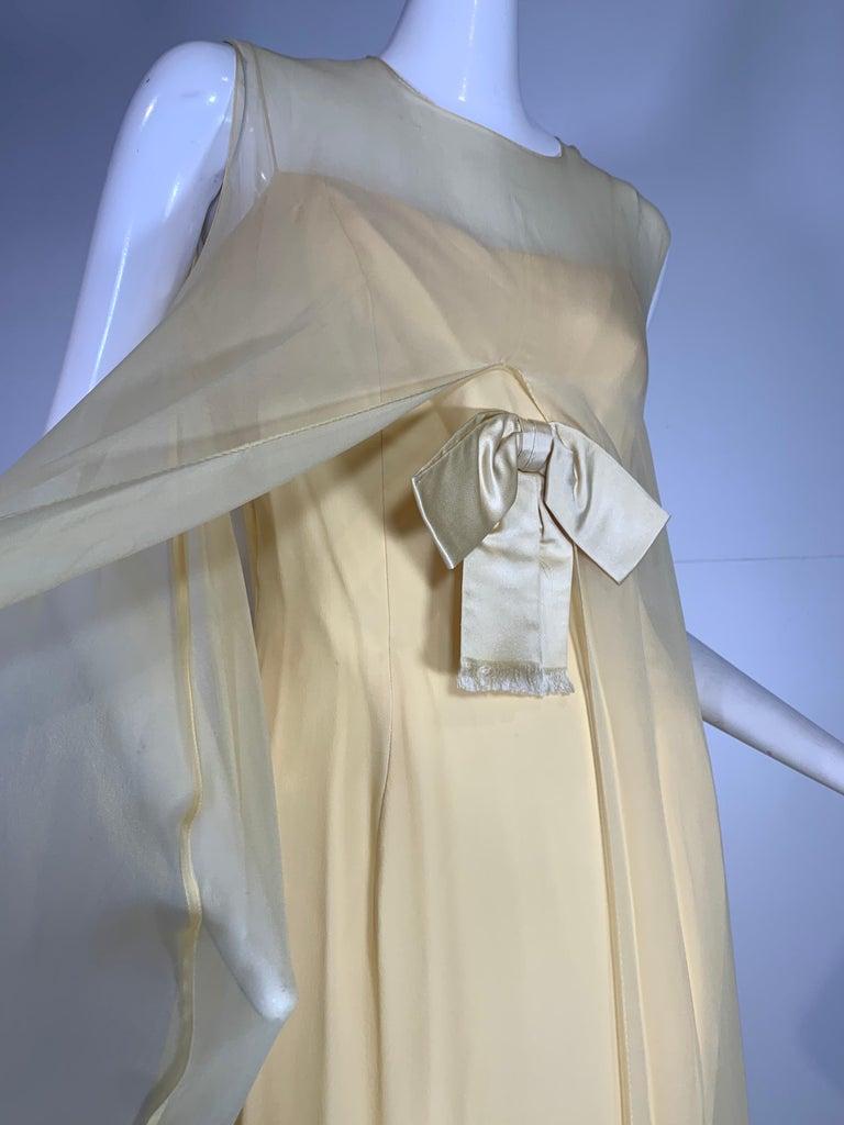 1960 Bonwit Teller Pale Yellow Silk Chiffon Column & Overlay Gown  For Sale 1