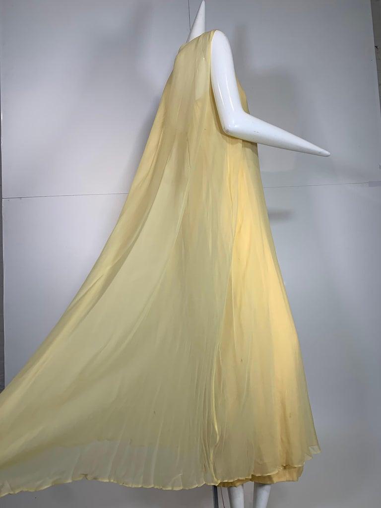 1960 Bonwit Teller Pale Yellow Silk Chiffon Column & Overlay Gown  For Sale 2