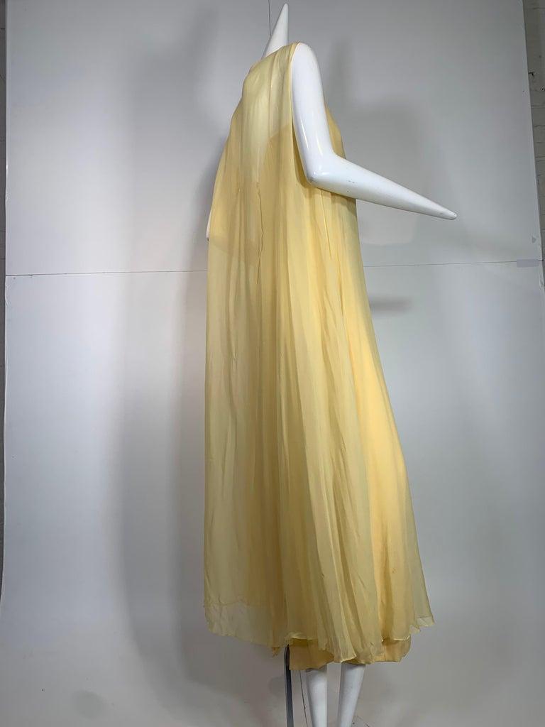 1960 Bonwit Teller Pale Yellow Silk Chiffon Column & Overlay Gown  For Sale 3