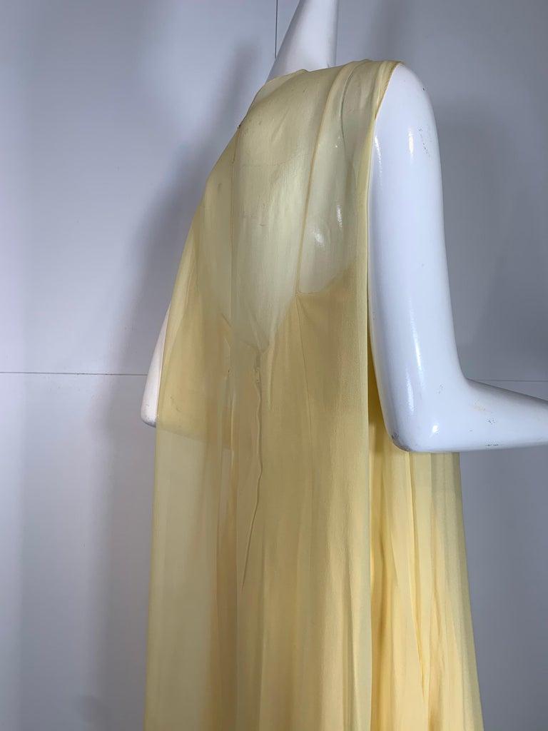 1960 Bonwit Teller Pale Yellow Silk Chiffon Column & Overlay Gown  For Sale 4
