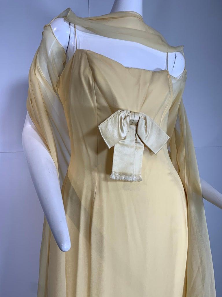 1960 Bonwit Teller Pale Yellow Silk Chiffon Column & Overlay Gown  For Sale 5