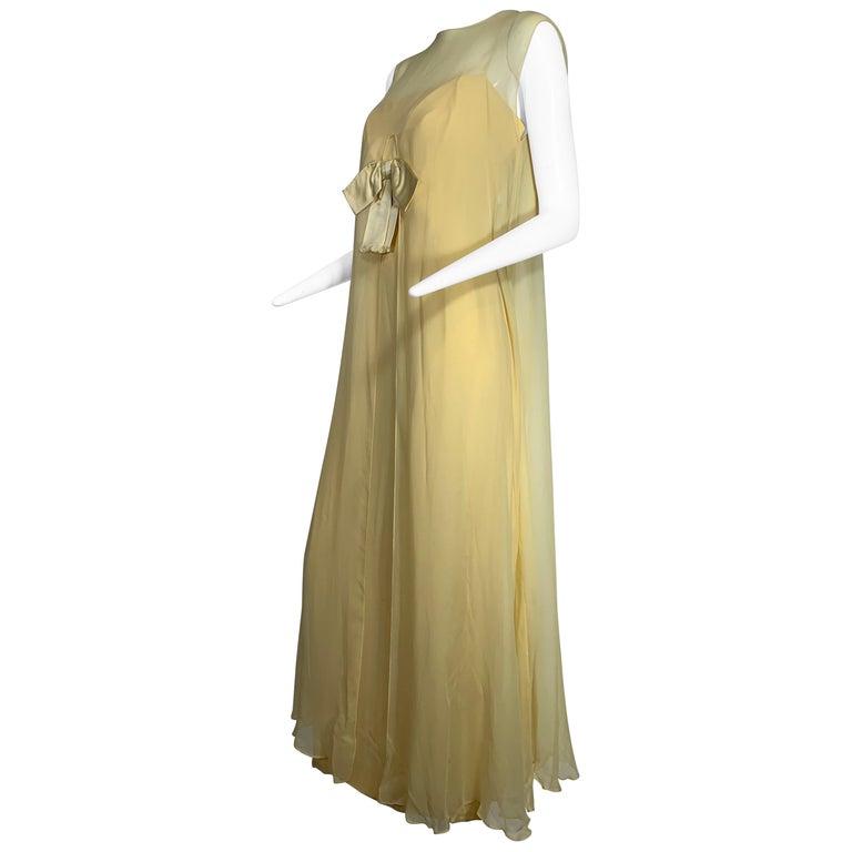 1960 Bonwit Teller Pale Yellow Silk Chiffon Column & Overlay Gown  For Sale