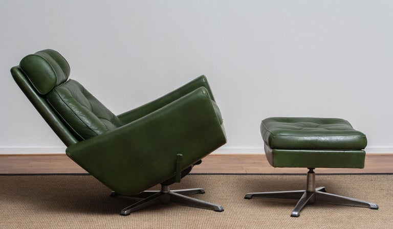 1960 Bottle Green Leather Swivel and Rocking Lounge Chair and Ottoman by Ulferts 3