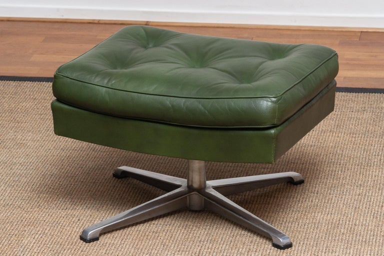 1960 Bottle Green Leather Swivel and Rocking Lounge Chair and Ottoman by Ulferts 12