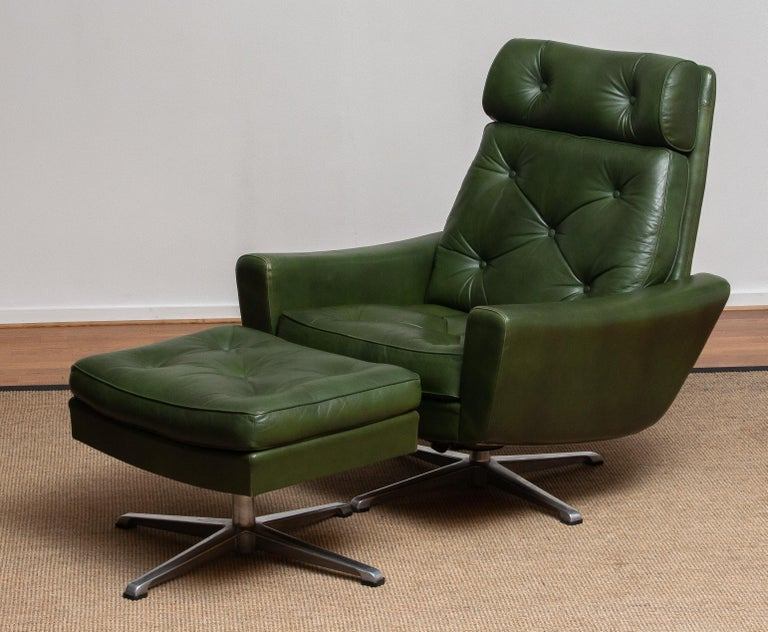 1960 Bottle Green Leather Swivel and Rocking Lounge Chair and Ottoman by Ulferts 13