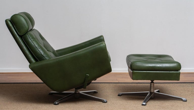 1960 Bottle Green Leather Swivel and Rocking Lounge Chair and Ottoman by Ulferts 2