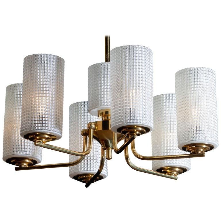 Mid-Century Modern 1960 Brass and Glass Chandelier or Pendant by Carl Fagerlund for Orrefors Sweden