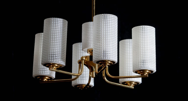 1960 Brass and Glass Chandelier or Pendant by Carl Fagerlund for Orrefors Sweden 3