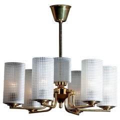 1960 Brass and Glass Chandelier or Pendant by Carl Fagerlund for Orrefors Sweden