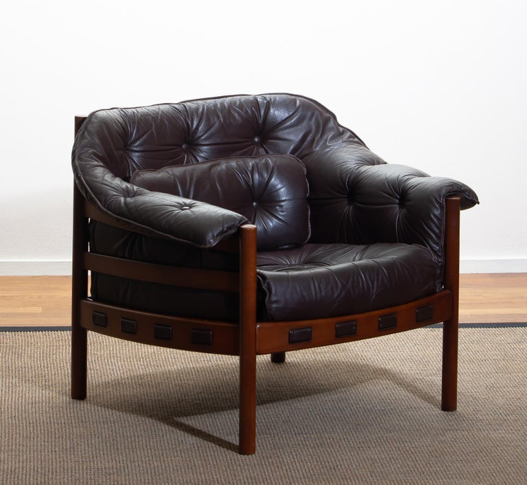 1960, Brown Leather and Lounge Chair by Arne Norell for Coja, Sweden 4