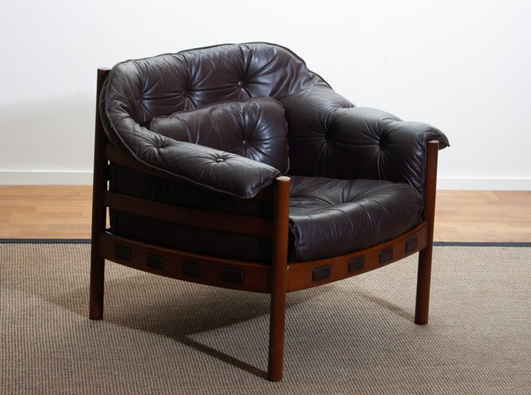 1960, Brown Leather and Lounge Chair by Arne Norell for Coja, Sweden 5