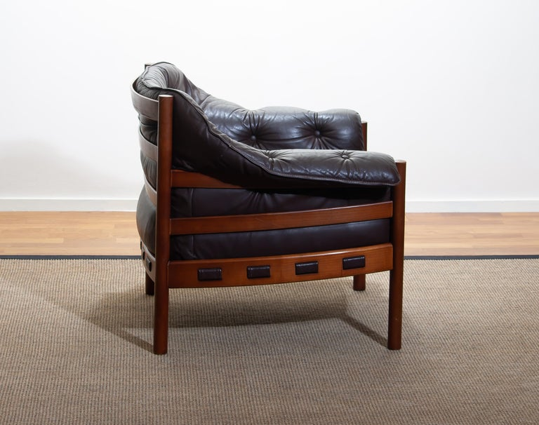 Mid-Century Modern 1960, Brown Leather and Lounge Chair by Arne Norell for Coja, Sweden For Sale