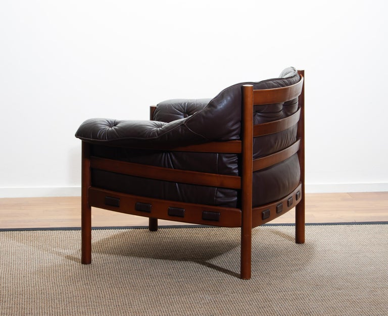 Swedish 1960, Brown Leather and Lounge Chair by Arne Norell for Coja, Sweden For Sale