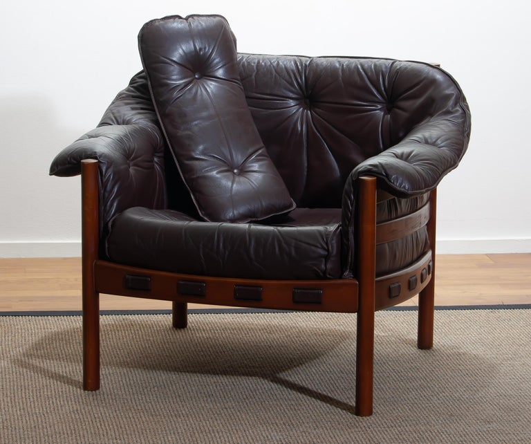 1960, Brown Leather and Lounge Chair by Arne Norell for Coja, Sweden In Good Condition For Sale In Silvolde, Gelderland