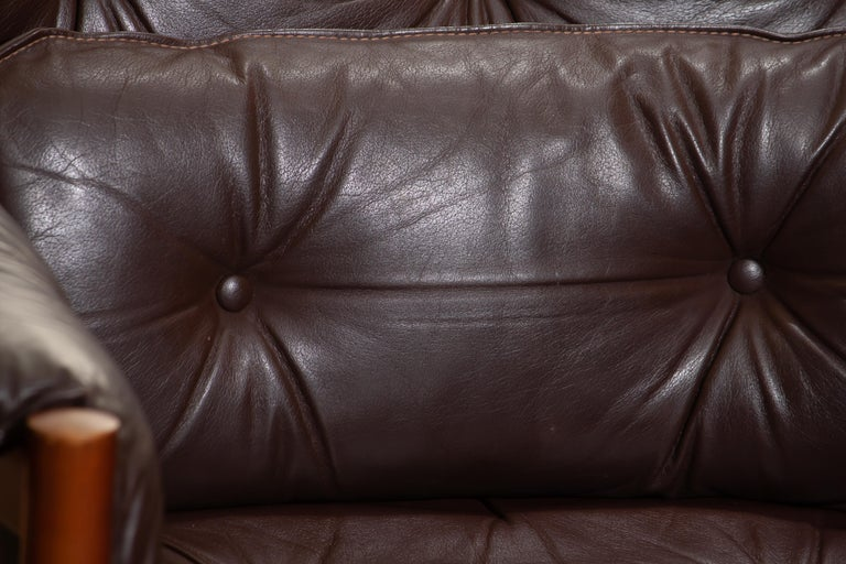Mid-20th Century 1960, Brown Leather and Lounge Chair by Arne Norell for Coja, Sweden
