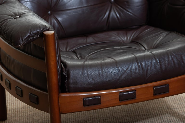 1960, Brown Leather and Lounge Chair by Arne Norell for Coja, Sweden For Sale 1