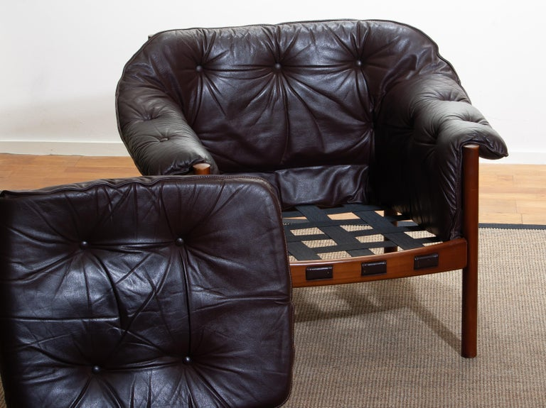 1960, Brown Leather and Lounge Chair by Arne Norell for Coja, Sweden For Sale 3