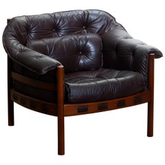1960, Brown Leather And Lounge Chair by Arne Norell for Coja Sweden