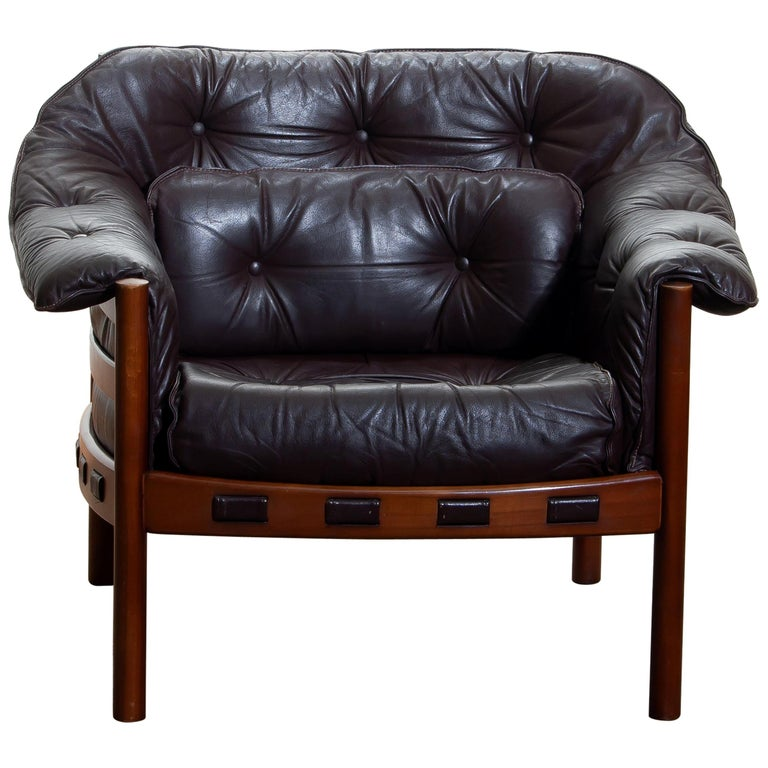 1960, Brown Leather and Lounge Chair by Arne Norell for Coja, Sweden For Sale