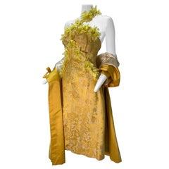 1960 Canary Yellow Silk Brocade Flower Appliqué Cocktail Dress & Opera Coat