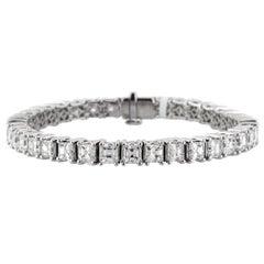 Mark Broumand 19.60 Carat Asscher Cut Diamond Tennis Bracelet