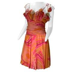 1960 Ceil Chapman Silk Chiffon Print Cocktail Dress W//Handmade Roses