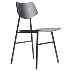 1960 Chair in Black Oak with metal frame and Plywood,  Mid-Century Modern Style