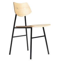 1960 Chair in Natural Oak with Metal Frame and Plywood, Mid-Century Modern Style