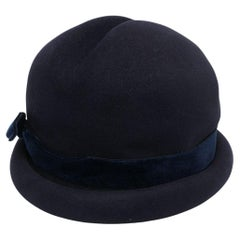 1960 Chanel Haute Couture Navy Wool Hat