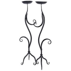 1960 Charming Pair of Wrought Iron Candlesticks, Ateliers Vallauris