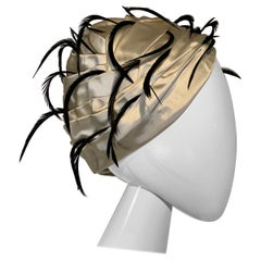 1960 Christian Dior By Marc Bohan Satin Pleated Turban w/Black Feather Spray