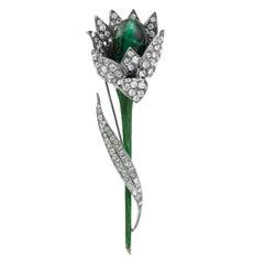 1960 Christian Dior Rhinestone and Emerald Green Cabochon Flower Brooch