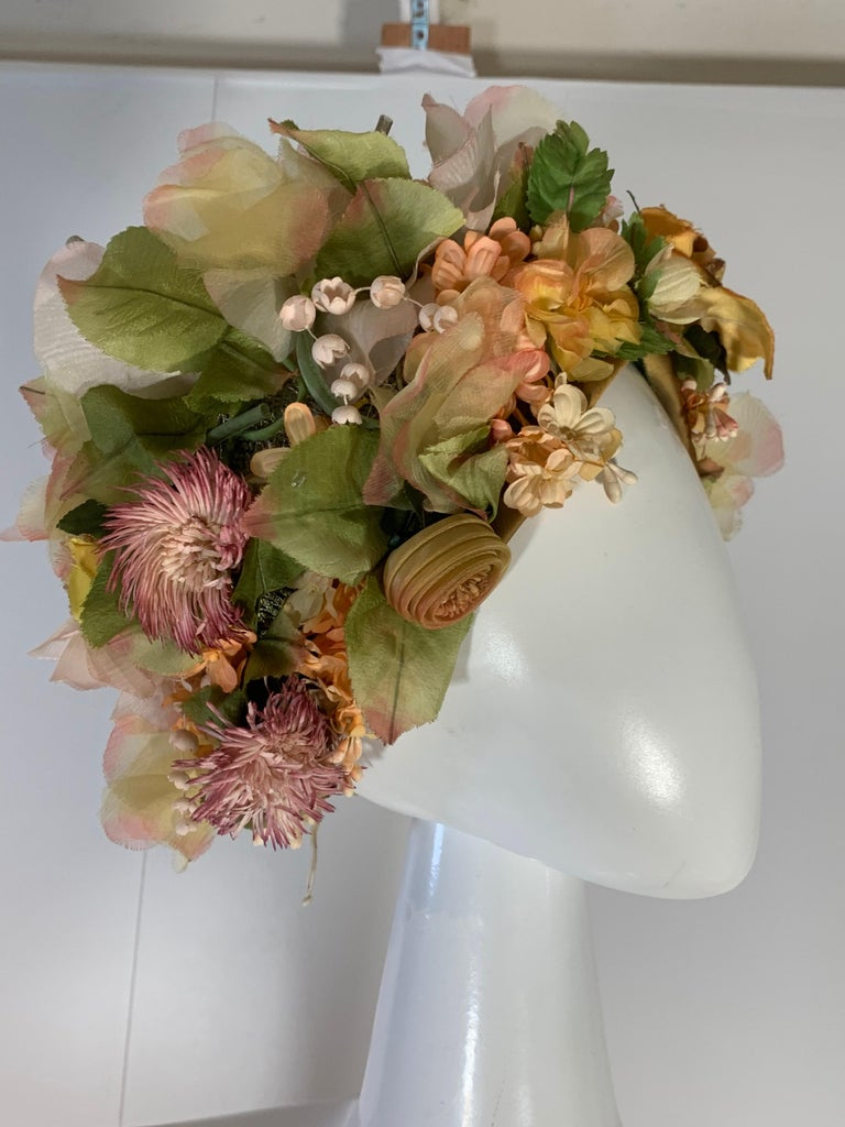 1960 Christian Dior Silk Spring Floral Turban By Marc Bohan Measures 22 Inches 5