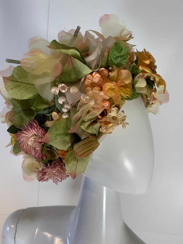 1960 Christian Dior Silk Spring Floral Turban By Marc Bohan Measures 22 Inches 6