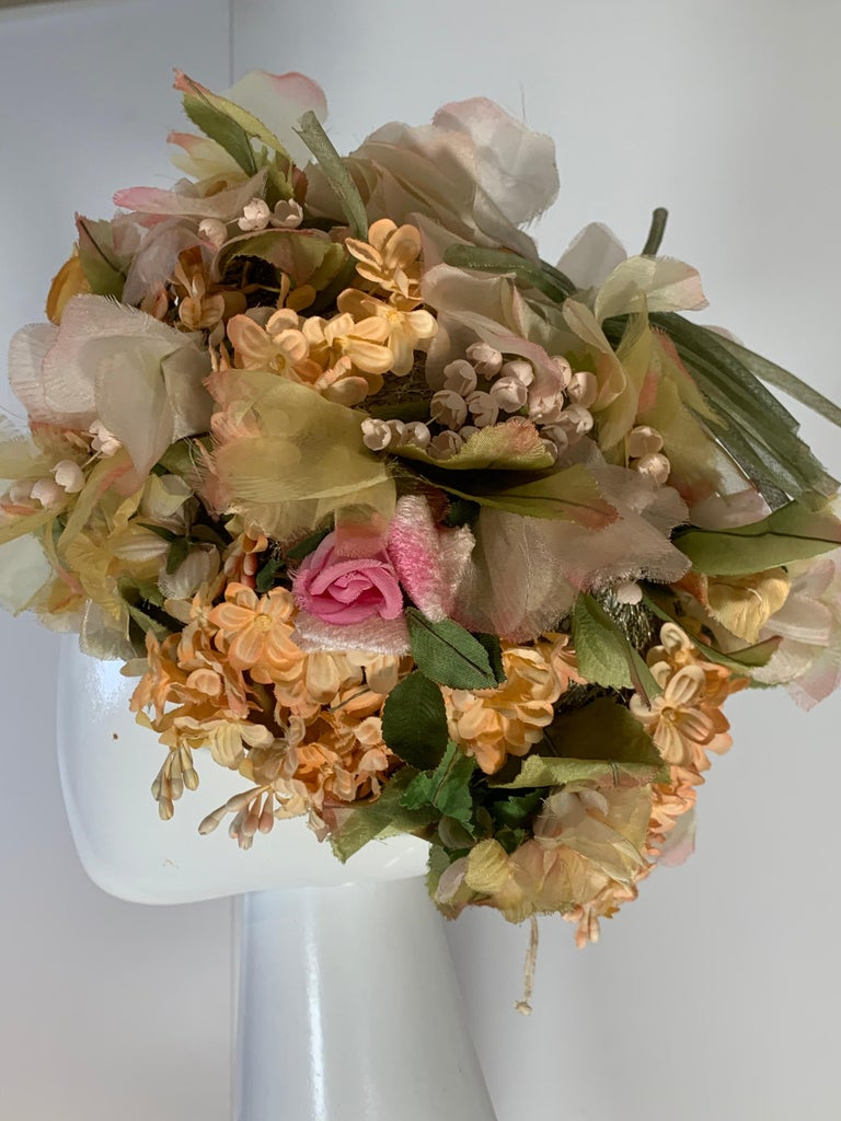 1960 Christian Dior Silk Spring Floral Turban By Marc Bohan Measures 22 Inches In Excellent Condition In San Francisco, CA