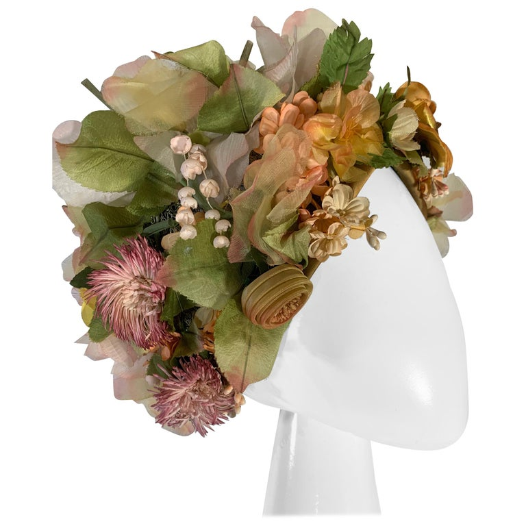 1960 Christian Dior Silk Spring Floral Turban By Marc Bohan Measures 22 Inches